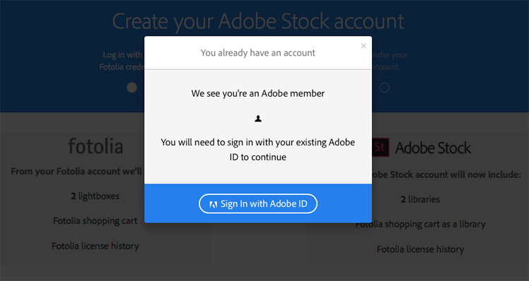 Start moving your account from Fotolia to Adobe now