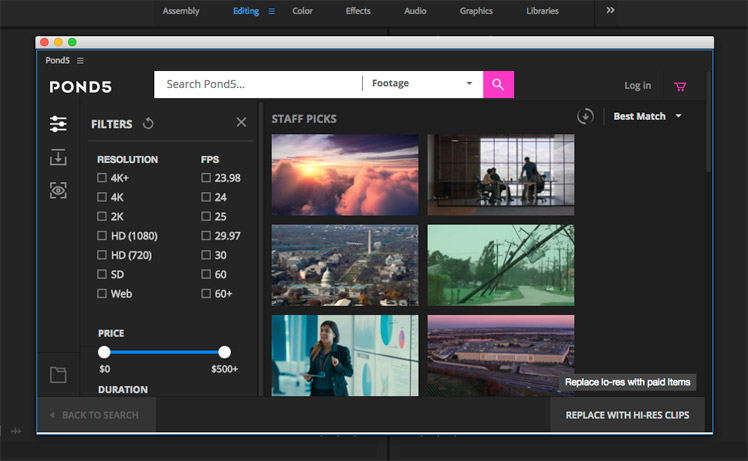 Best Stock Photo Plugins | Pond5 Add-on for Adobe Premiere Pro